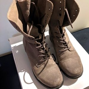 """Aldo """"Brooklyn"""" grey suede lace up combat boots"""